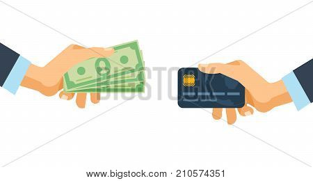 Hands holding credit plastic card and money bills. Concept of financial operations, transactions, investments and cash turnover. Cash and non-cash money turnover. Vector illustration isolated.