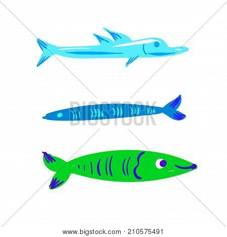 Cute fish vector illustration icons set isolated stock art