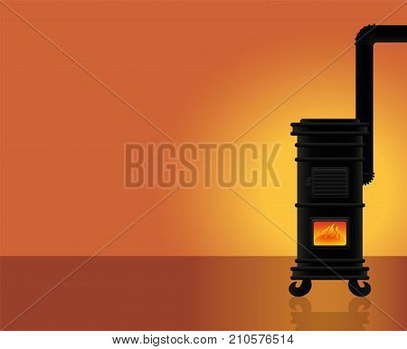 Cosy warmth - heated room with vintage cast iron stove. Vector illustration.