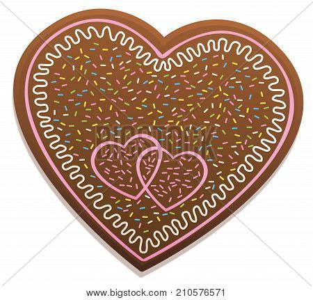 Gingerbread heart for love couples with sweet candy sprinkles and sugar icing. Isolated vector illustration on white background.