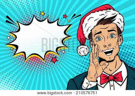 Christmas pop art face. Surprised happy man in Santa Claus hat suit bow tie with open mouth rises hand screaming and speech bubble. Vector illustration in retro comic style. New year party poster.