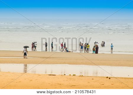 Tajpur sea beach - bay of Bengal India. View of sand dunes with bay of bengal in the background.