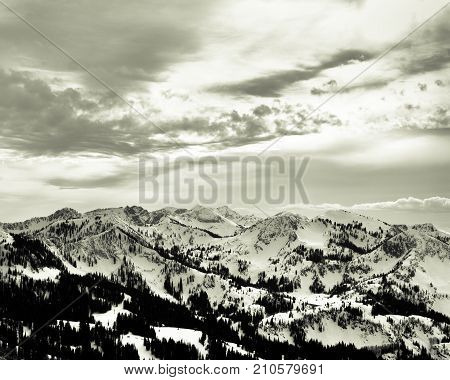 Black and White landscape, Wasatch Mountain Range in Park City, Utah