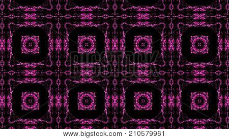 Abstract pink background of a kaleidoscope consisting of particles. Colorful 3d rendering backdrop