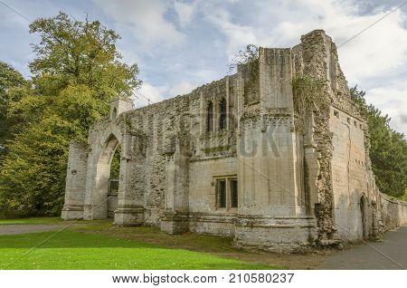 The gatehouse of ruined Ramsey Abbey, Cambridgeshire