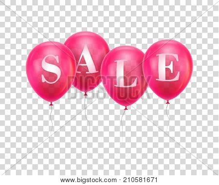 Sale pink balloon. Four pink helium balloon hanging in a row with letters Sale. Advertising banner for sellers, sites, stores, mobile applications. Vector illustration on transparent background