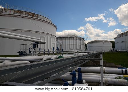 Tank farm with pipelines and valves and other petrochemical technology, Czech Republic