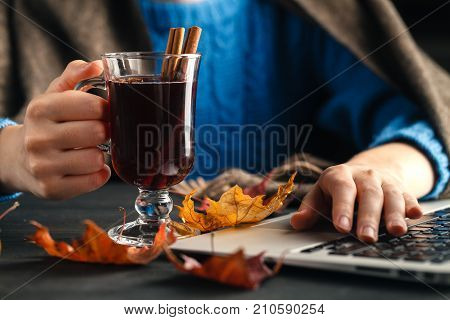 Woman Holding Mug Of Hot Drink (apple Tea, Mulled Wine). Female Hands With Cup Of Seasonal Hot Drink
