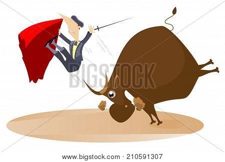 Bullfighter and the raging bull isolated. Bull raised the bullfighter by horns illustration