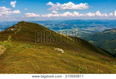Path Through Mountain Ridge In High Altitude
