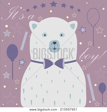 Baby Boy Birth announcement. Baby shower invitation card. Cute White Bear announces the arrival of a baby boy. Card Design with message. Blue Background with festive balloons ribbons and stars.