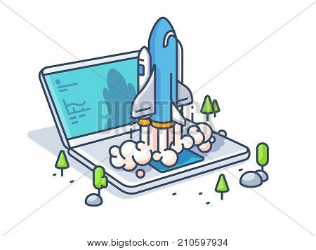 Starting startup with laptop. New business start rocket. Vector illustration
