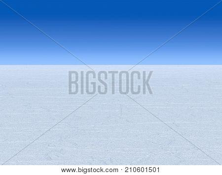 3d rendering. white vast desert sand with blue sky