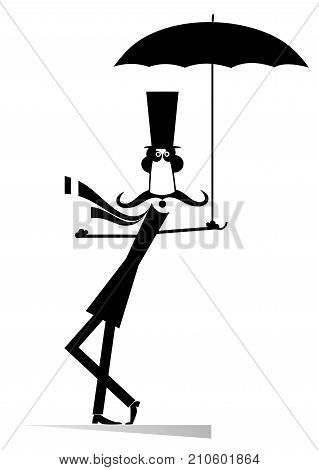 Mustache man in the top hat with umbrella isolated. Mustache man in the top hat with umbrella staying on the wind