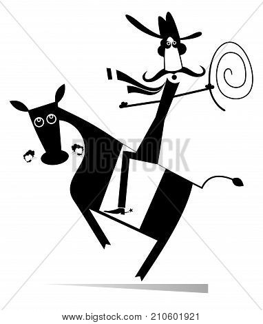 Man or cowboy rides on horse isolated. Cartoon rodeo illustration with cowboy holding a lasso and horse