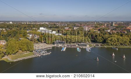 MUENSTER, GERMANY - OCTOBER 14, 2017: Aerial view of Aasee lake in Muenster, North-Rhine Westphalia, Germany