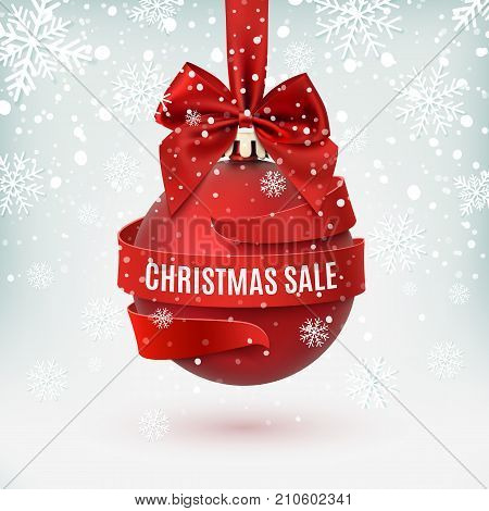 Christmas sale, decoration with red bow and ribbon around, on winter background. Greeting card, brochure or poster template. Vector illustration.
