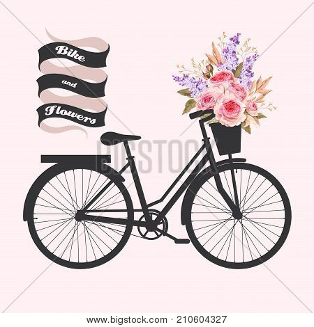 Illustration of bicycle with basket full of rose flowers