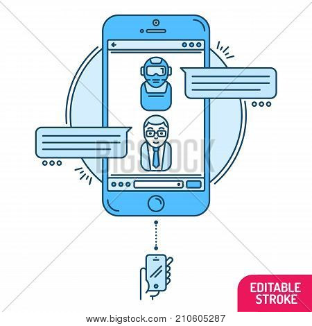 Chatbot concept. Man chatting with chat bot on smartphone. Flat design style modern vector minimalistic illustration concept for business site banners web. Vector illustration