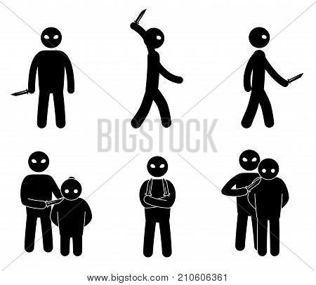 Terrorism concept. Set of terrorist people. World threat. Vector illustration