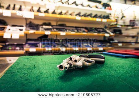 Revolver Pistol Gun Store Detail Weapons Deadly Clean New Shop Isolated Dealer Seller Nobody