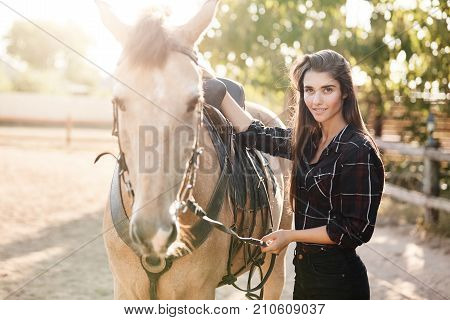 Portrait of beautiful posh long haired female farm owner. Woman running a succesful breeding business petting a horse.