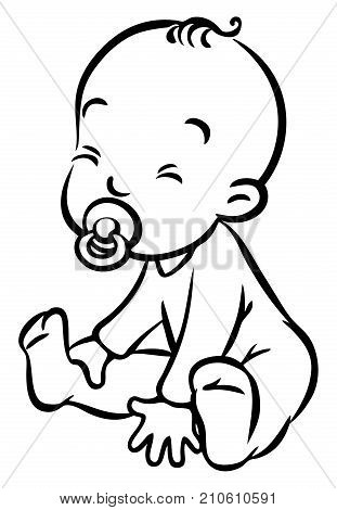 Funny small baby, boy or girl, sitting in romper with dummy. Children vector illustration or coloring book