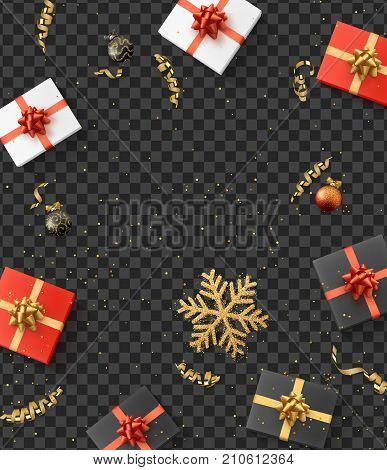 Christmas composition. Christmas gift confetti golden snowflake and Xmas balls. Background with transparency effect