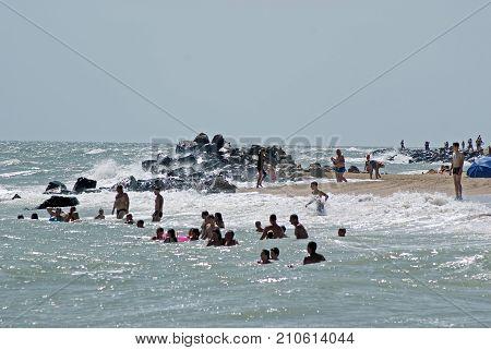 Berdyansk, Ukraine - August 12, 2017: City beach with vacationers