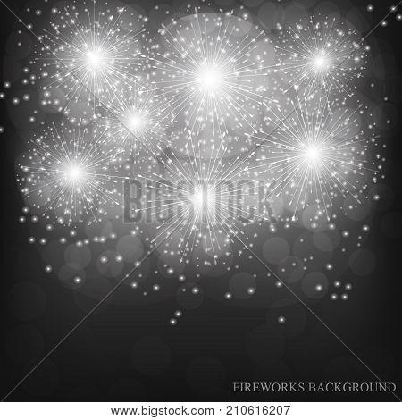 Brightly Fireworks. Holiday fireworks background. Black-white vector illustration of Fireworks.