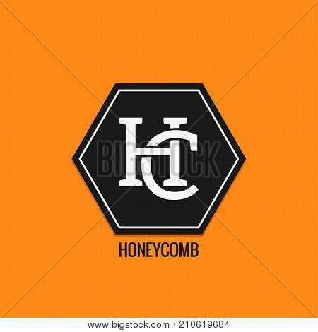 Honey comp logo design. H and C letters vector background 10 eps