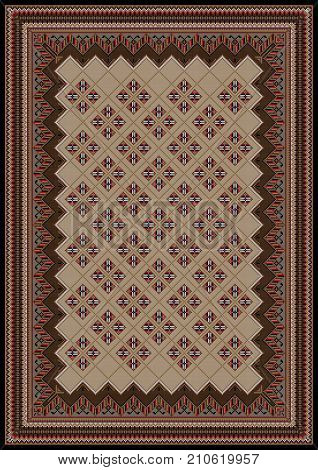 Luxurious vintage oriental rug with original pattern in brown and red shades