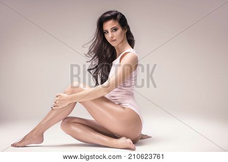 Sensual Attractive Lady Posing In Studio.