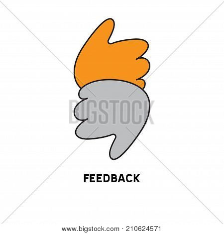 Like and dislike. Thumbs up and thumbs down. Icon feedback. Logo feedback. Stock vector