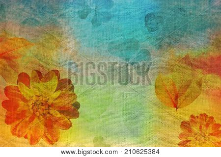 Vintage Oil gouache painting canvas stylization. Watercolor dahlias and hearts. Impressionist painting for cushion blanket or pillow plaid and tablecloth cloth bandanna or shawl. Batik Sari