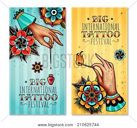 set of two vertical banners on the subject tattoo festival with tattooed hands holding burning match and needle with a drop of poison