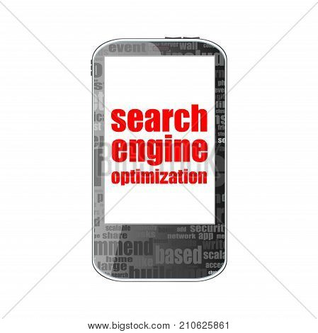 Search Engine Optimization Text. Information Concept . Detailed Modern Smartphone Isolated On White