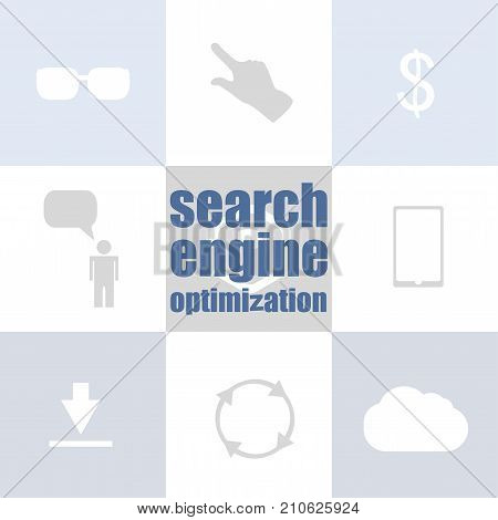 Search Engine Optimization Text. Information Concept . Infographic Of Technology Or Education Proces