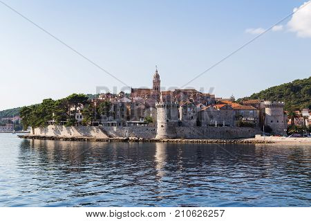 Korcula Old Town Juts Out Into The Peljesac Channel