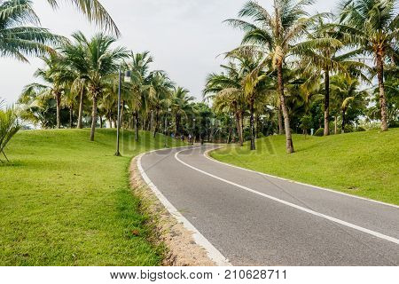 Bicycle lane or Bicycle track with road in public park for designed to make cycling safer in thailand.