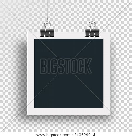 Vector photo frame clamped binders clips and weighs on a steel cable on the clip on an isolated background.