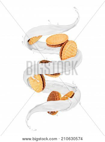 Delicious cookies rotates in a swirling splashes of milk isolated on white background
