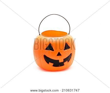 Studio Shot Jack O' Lantern Halloween Pumpkin Pail Isolated On W