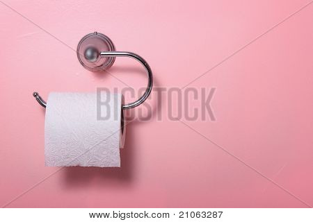 Toilet Paper On Pink Wall