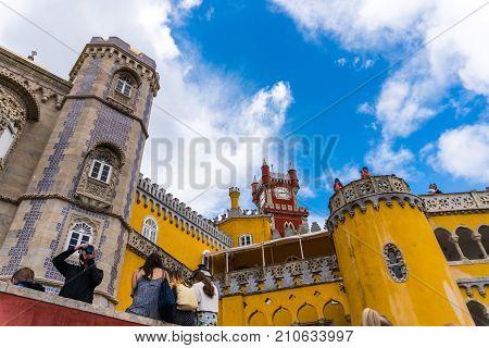Sintra, Portugal - June, 2017. Pena National Palace, Famous Landmark, Sintra, Lisbon, Portugal, Euro