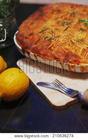 Traditional pie for a family holiday.Beautiful meat, fish or vegetable pie with a golden crust.