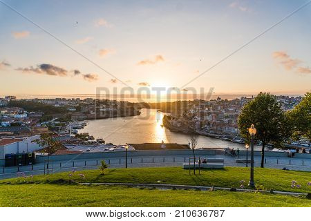 Aerial View Of Dom Luis I On Douro River At Sunset At Vila Nova De Gaia, Porto, Portugal. Picturesqu
