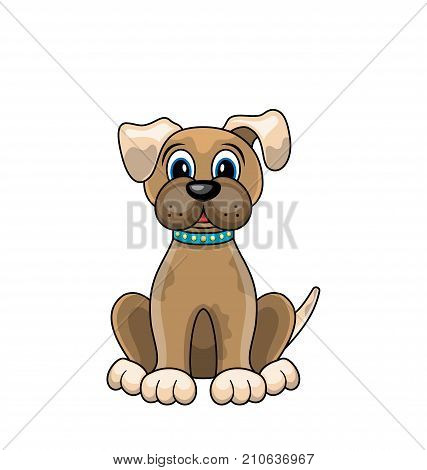 Cartoon Dog Sitting in Collar Isolated on White Background - Illustration Vector