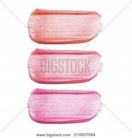 Set of different lip glosses smear samples isolated on white. Smudged makeup product sample.