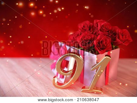 birthday concept with red roses in gift on wooden desk. 3D render - ninety-first . 91st